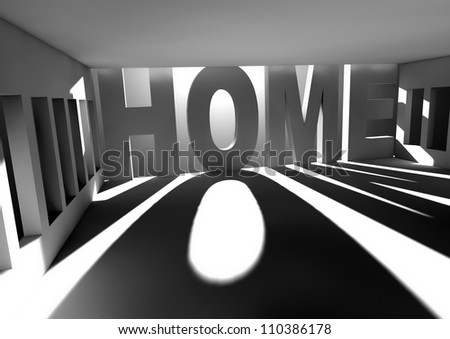 white room with sun light coming through the windows and home text - stock photo