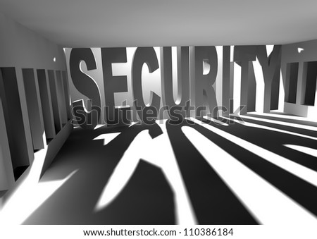 white room with sun light coming through the windows and security text - stock photo