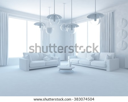 white room with white furniture. White interior.3d illustration