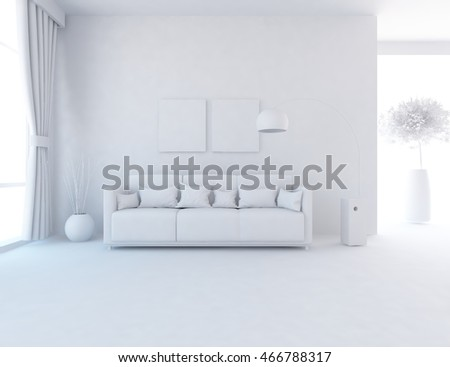 White room with white furniture. White living room interior. Scandinavian interior. 3d illustration
