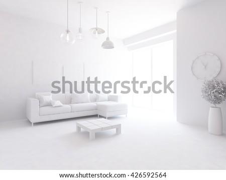 White room with white sofa. Living room interior. Scandinavian interior. 3d illustration - stock photo
