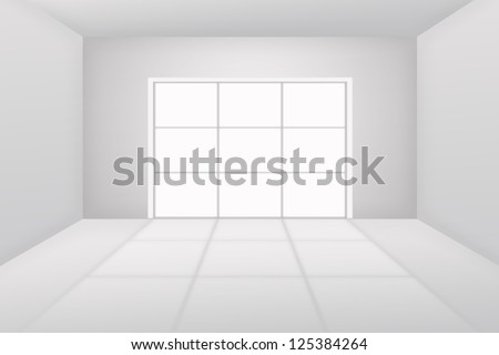 White room with window and white light - stock photo