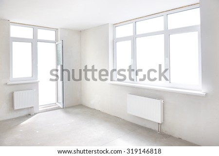 White room with window. Empty interior space - stock photo