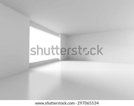 White Room With Window Light. Abstract Interior Background. 3d Render Illustration - stock photo