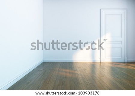 white room with wooden parquet and white door - stock photo