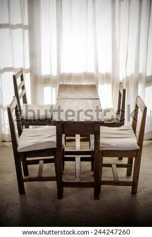 White room with wooden table and chair  , Vintage style