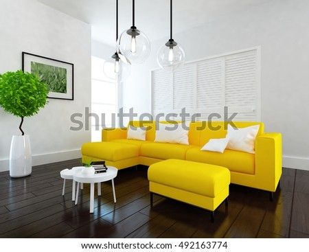 White Room With Yellow Sofa. Living Room Interior. Scandinavian Interior.  3d Illustration Part 53