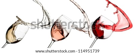White, rose and red wine splash