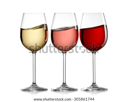 White, rose and red wine waves - stock photo
