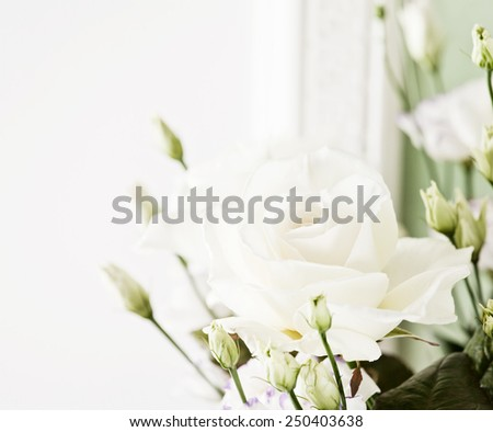 White rose flower bouquet or wedding posy. Holidays and celebrations - stock photo