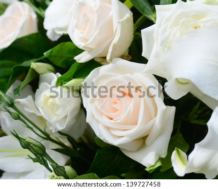 White rose flower decorated in wedding day.