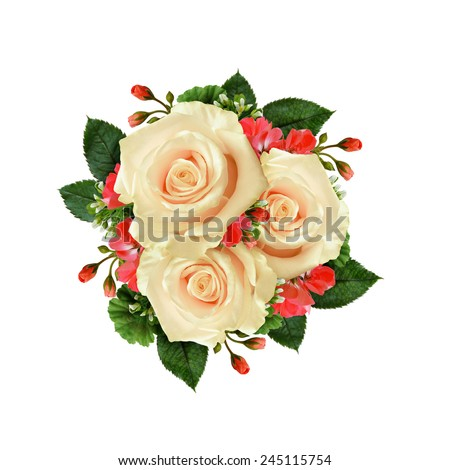White rose flowers bouquet on white background - stock photo