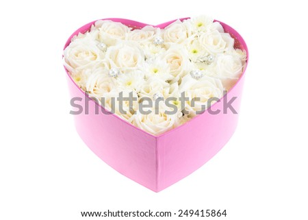 White roses and pearl and diamond held in the heart shape box. gift for valentine 's day, isolated on white background - stock photo