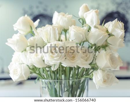 White roses flower arrangement glass vase stock photo royalty free white roses flower arrangement in a glass vase mightylinksfo