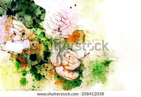 White roses grunge illustration in watercolors.  - stock photo