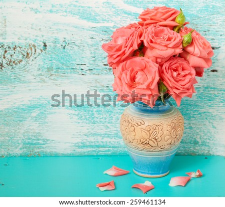 White roses in vase. Flowers beautiful bouquet of roses on vintage background.  - stock photo