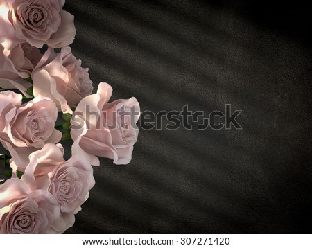 white roses on ancient concrete wall decorative concept background - stock photo