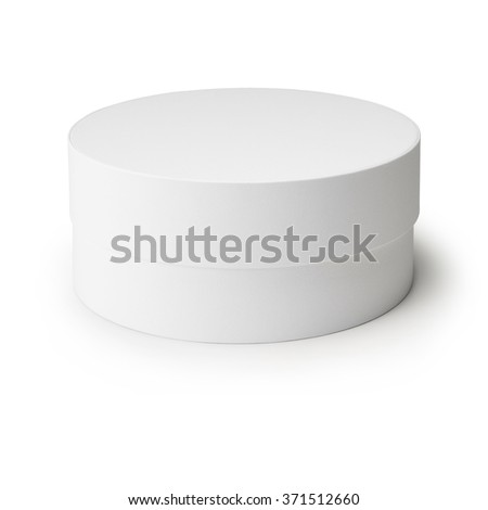 white round box isolated on white background. - stock photo