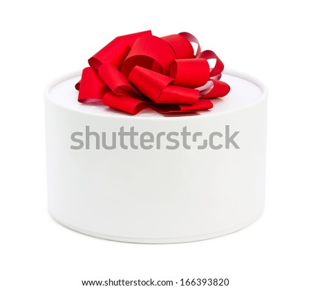 white round box with red bow, isolated