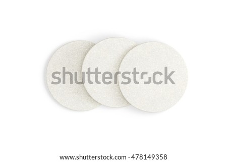 White round coasters. Isolated on white background.. 3d render