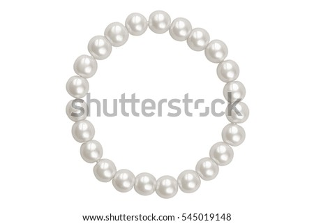 White round elastic bracelet made of medium pearl-like round beads, isolated on white background, clipping path included