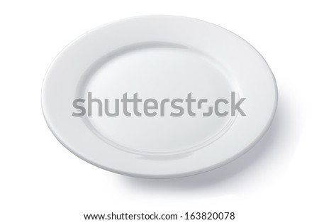White round empty plate isolated on white background - stock photo