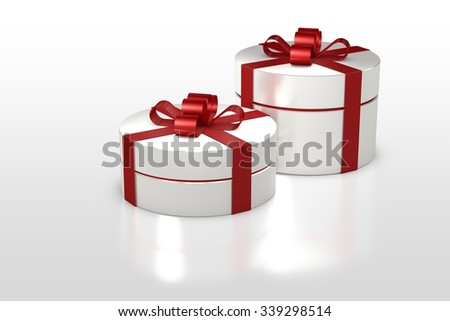 white round gift box with red ribbon isolated on white background