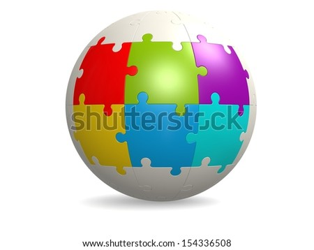 White round puzzle with six color