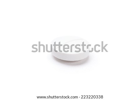 White round tablet, isolated. Healthcare concept. - stock photo