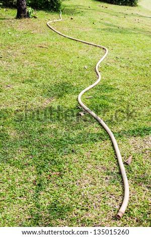 White rubber tube on the grass of urban park. - stock photo