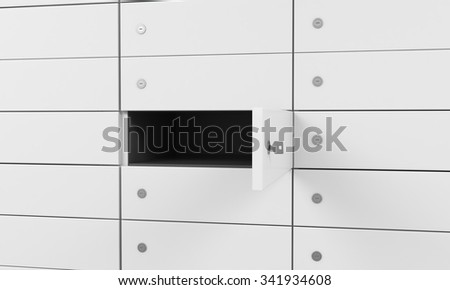 White safe deposit boxes in a bank, one box is open. A concept of storing of important documents or valuables in a safe and secure environment. 3D rendering. - stock photo