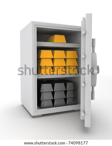 white safe with platinum and gold ingots