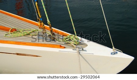 White Sailboat Bow and Rigging