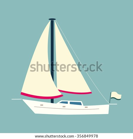 White sailing boat. Can be used for card printing, web design.