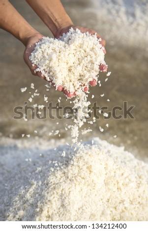 white salt heart shapes on hands - stock photo