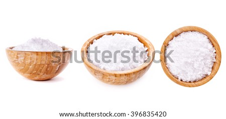 white salt  in wooden bowl isolated on white background - stock photo