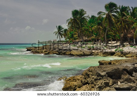 white sand beach and clear water in Caribean, Mexico - stock photo