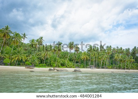 White sand beach and coconut trees on   Tao island,Thailand