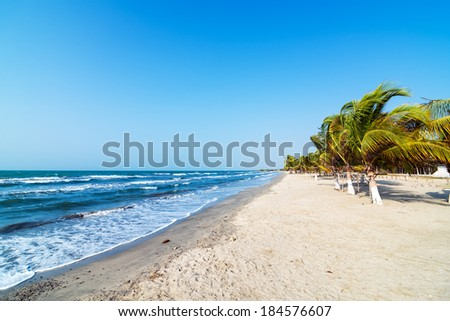 White sand beach and palm trees on the Colombian Caribbean coast in Covenas