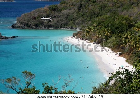 White sand beach and turquoise water on St. John's, US Virgin Islands