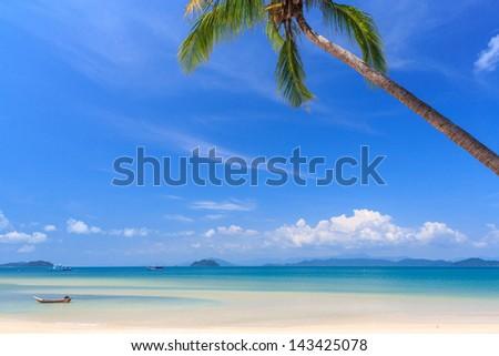 White sand beach at tropical island, Koh Payam, Ranong, Thailand - stock photo