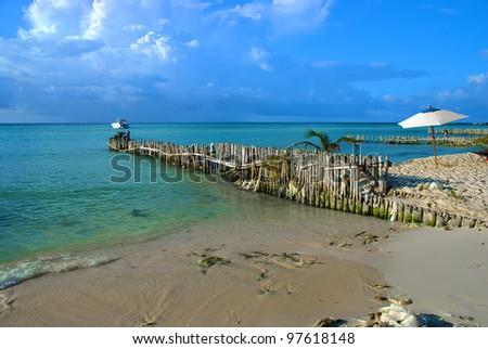 White sand beach in Isla Mujeres. Cancun, Mexico - stock photo