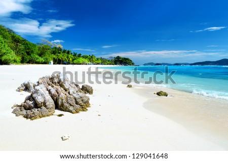 White sand beach. Malcapuya island, Coron, Philippines. - stock photo
