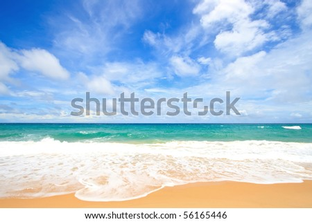 White Sand Beach with Perfect Sunny Sky in Summer time at Phuket Thailand