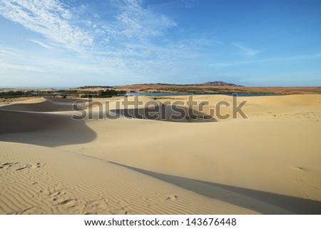 White sand dune, Mui Ne, Vietnam - stock photo