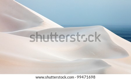 White sand dunes in Socotra Island - stock photo
