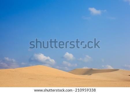 White sand dunes on sunrise, Mui Ne, Vietnam  - stock photo