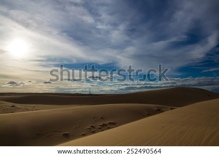 White sand dunes on sunset, Mui Ne, Vietnam