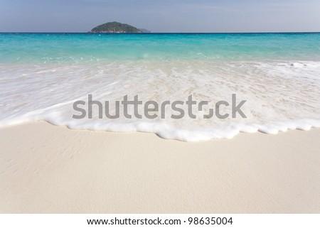 white sand tropical beach seascape, ko similan island, Thailand - stock photo