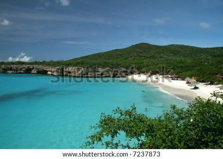 White sandy beach - stock photo